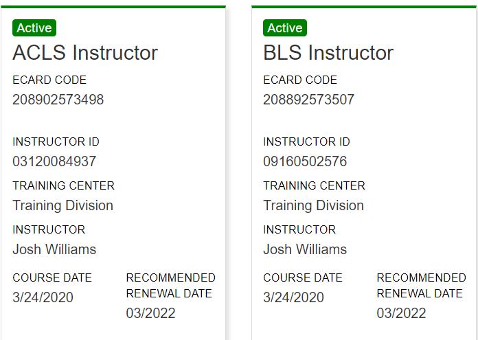 Tim Garbett's AHA Instructor Certifications