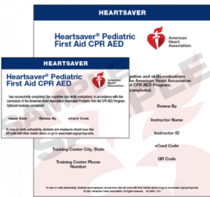 Heartsaver Pediatric First Aid CPR AED Sample Ecard (2020)